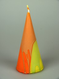Kegelkerze orange-gelb-grün