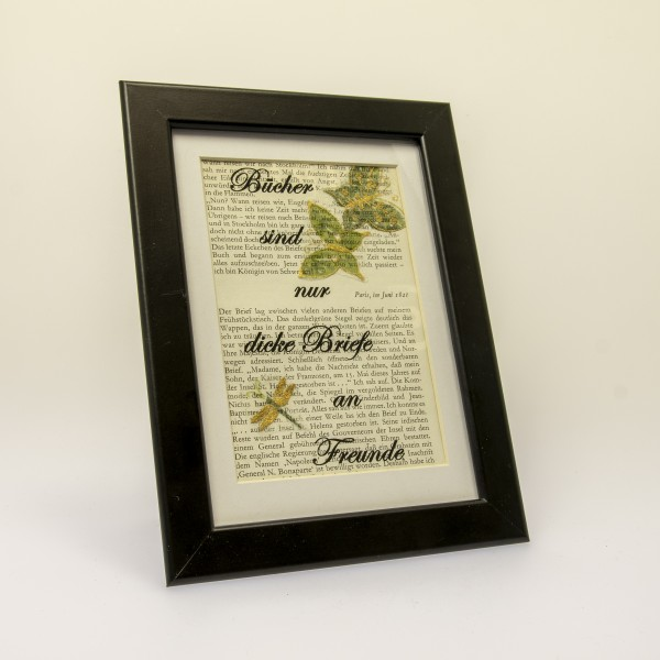 Bilderrahmen mit Spruchweisheiten (klein) mit handgeschöpftem Papier
