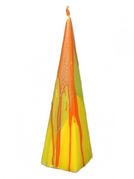 Pyramidekerze orange-gelb-grün