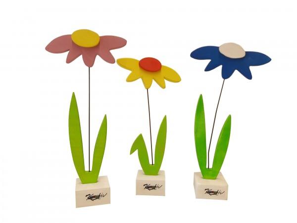 3er-Set Blumen aus Holz bunt