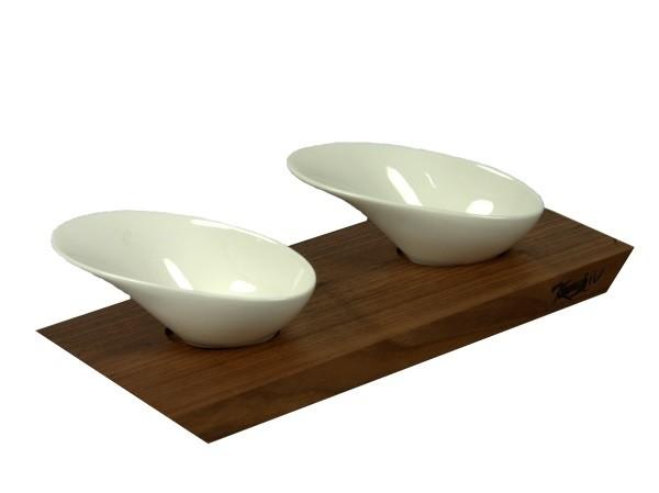 Dipbrettchen mit zwei ovalen Porzellanschälchen