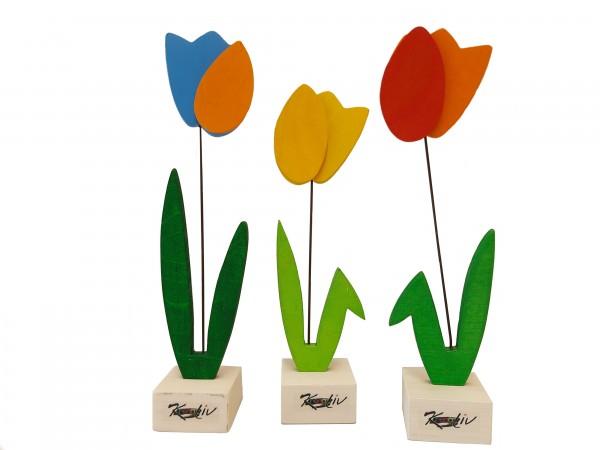 3er-Set Tulpen aus Holz bunt