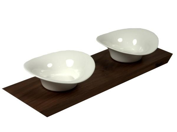 Dipbrettchen mit zwei runden Porzellanschälchen
