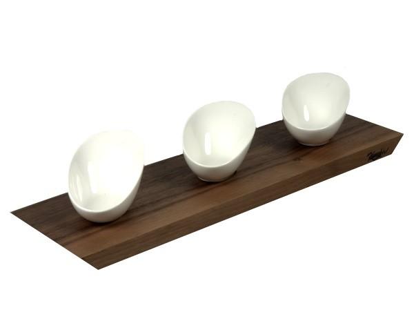 Dipbrettchen mit drei ovalen Porzellanschälchen