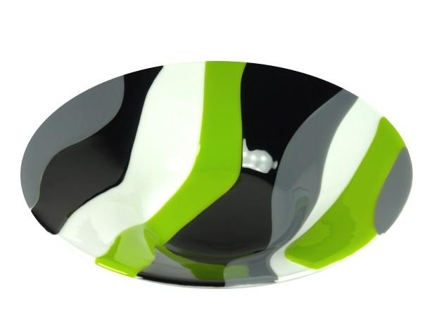 Glasschale Blockstreifen grün