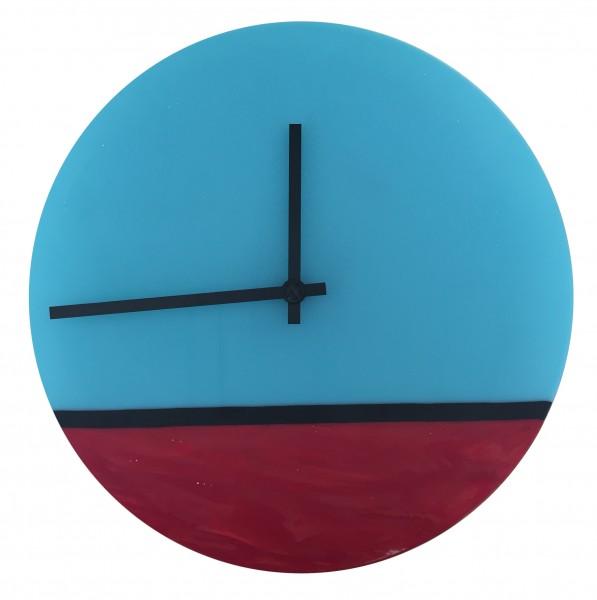 Wanduhr rot/blau